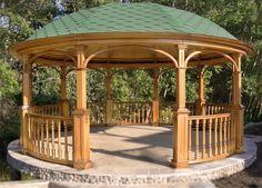 Беседка для дачи из массива сосны круглой формы Wooden Pavilion, Wooden Pergola, Backyard Gazebo, Patio, Front Gate Design, Front Gates, Garden Deco, Garden Design, Brick