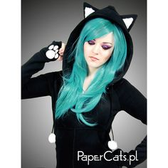 Black cat hoodie long ears animal kitty ($75) ❤ liked on Polyvore featuring tops, hoodies, long sleeve hoodies, animal print tops, long hooded sweatshirt, blue hoodies and blue hoodie
