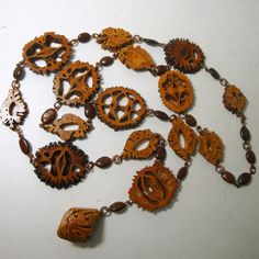 Walnut Slice Wire Link Necklace 1970s Well by VintageStarrBeads, $24.00