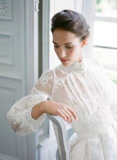 wedding dress high neck High neck long sleeve wedding dress by Joanne Fleming Design, image by Anna Grinets Elegant Wedding Gowns, Country Wedding Dresses, Modest Wedding Dresses, Bridal Dresses, French Wedding Dress, Long Sleeve Wedding, Wedding Dress Sleeves, Lace Sleeves, French Chateau Wedding Inspiration