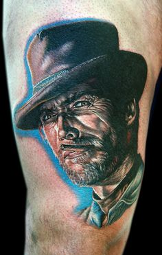 The good the bad the ugly by Cecil Porter - Start to a leg sleeve, done @ Main Street Tattoo in Wishaw Scotland with the Dragonfly Tattoo Machine, Bad Tattoos, Dream Tattoos, I Tattoo, Tattoos For Guys, Main Street Tattoo, Dragonfly Tattoo, Western Movies, Tattoo Machine, Mountain Man