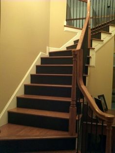 black stair risers | Stair risers painted black. | Dark Riser, Lighter Tread.