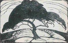 Boom en Akkers - houtsnede - Klaas van Leeuwen (1868-1935, Nederland)