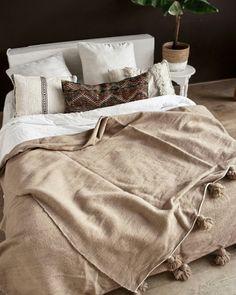 Beautiful wool pompom blanket www. Moroccan Lounge, Moroccan Bedroom, Moroccan Interiors, Moroccan Design, Moroccan Decor, Home Bedroom, Bedroom Decor, Dark Green Walls, Cozy Apartment