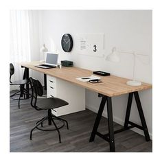 IKEA - GERTON / ALEX, Table, , At this large desk made of solid wood, there's room for several people – so that you can plan a vacation on one side and do homework on the other.Solid wood is a durable natural material. Guest Room Office, Home Office Space, Small Office, Home Office Design, Home Office Decor, Office Furniture, Home Decor, Office Ideas, Office With Two Desks