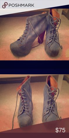 Jeffrey Campbell denim platforms Re-poshing these Jeffrey Campbell denim platforms. Great condition, I never even got around to wearing them ! Jeffrey Campbell Shoes
