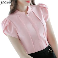 Cheap ladies formals, Buy Quality chiffon blouse directly from China short sleeve chiffon blouse Suppliers: Fashion Stand collar women shirt OL office puff short sleeve chiffon blouses OL ladies formal work wear summer clothes slim tops Summer Work Wear, Formal Blouses, Sleeves Designs For Dresses, Trendy Tops, Classy Dress, Stylish Dresses, Blouse Designs, Collar Designs, Blouses For Women