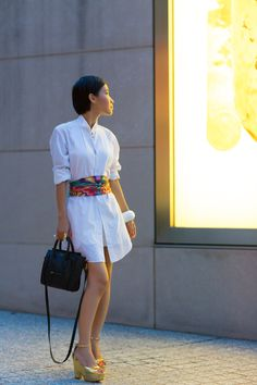 white dress and scarf belt