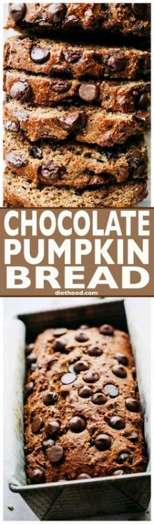Chocolate Pumpkin Br Chocolate Pumpkin Bread -This easy quick... Chocolate Pumpkin Br Chocolate Pumpkin Bread -This easy quick bread recipeis packed with warm spices a wonderful chocolate and pumpkinflavor plus its lightened up and its delicious! via Katerina | Diethood halloween costumes recipes diy decorations art crafts ideas