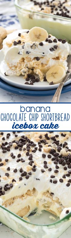 Banana Chocolate Chip Shortbread Icebox Cake - this easy recipe has layers of gluten-free cookies and banana pudding! My family LOVED this recipe - it's a keeper!