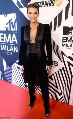 Bust in show: Ruby Rose, star of Netflix show Orange is the New Black, looked ravishing at the MTV EMAs in a revealing tuxedo