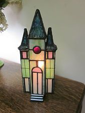 Genuine Stained Glass Church Figurine Lamp Light