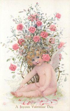 A JOYOUS VALENTINE DAY  cupid sits under rose bush