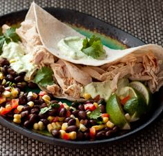 Chicken Tacos with Avocado Cream  Served with Black Bean Corn Salad