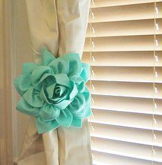 TWO Dahlia Flower Curtain Tie Backs Curtain Tiebacks Curtain Holdback -Drapery Tieback-Baby Nursery Decor- Mint Green Decor by bedbuggs on Etsy https://www.etsy.com/listing/163416203/two-dahlia-flower-curtain-tie-backs