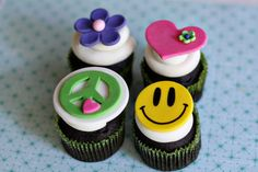 Peace Sign, Flower, Heart and Smiley Hippie Fondant Toppers for Decorating Groovy Cupcakes, Cookies or other Treats Fondant Toppers, Fondant Cakes, Cupcake Toppers, Love Cupcakes, Love Cake, Themed Cupcakes, Birthday Cupcakes, 50th Birthday, Cupcake Party