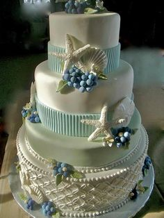 .pretty wedding cake with seashells and basket weave on the bottom Would love this with dolphin topper