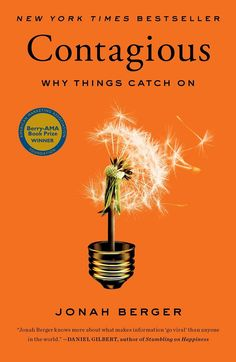 """Contagious: Why Things Catch On: Jonah Berger. What  are you reading this summer? We're really enjoying """"Contagious"""" by Jonah Berger - the ideas that catch on are really the ones where people are """"listening"""" to their peers Good Books, Books To Read, My Books, Stumbling On Happiness, Psy Gangnam Style, Reading Lists, Book Lists, Reading Nook, New York Times"""