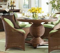 Palmetto All-Weather Wicker Round Pedestal Dining Table & Set - Honey #potterybarn