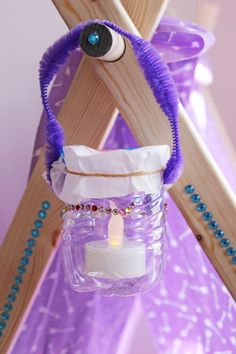 clover petal, use resources wisely. water bottle lantern. Girl scouts crafts.