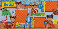 At The Beach Vacation 2 Premade Scrapbook Pages Paper Piecing 4 Album by Cherry | eBay