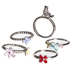 #TSVDAYCOMP Silver Plated Set of 5 Stackable Winnie The Pooh Rings