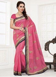 Patch Border Bhagalpuri Silk Designer Saree in Pink