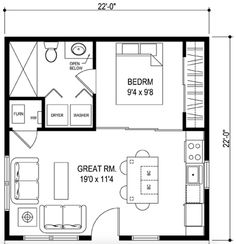 Granny pods with loft - grannypods 1 Bedroom House Plans, Guest House Plans, Small House Floor Plans, Cabin Floor Plans, Tiny House Cabin, Tiny House Living, Tiny House Design, Small Cottage Homes, Cottage House Plans
