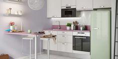 Cuisine Prima blanc d'Hygena et couleurs pastel : ambiance délicieusement féminine garantie !