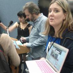 Livestream laptop, me, Dan, and my buddy @NaughtyVegan.