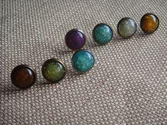 Earrings - Cracked glass effect in stud Setting by ModMomof2Boys on Etsy