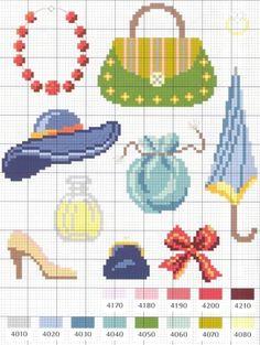 Small fashion objects chart for cross stitch, knitting, knotting, beading… Cross Stitch Kitchen, Mini Cross Stitch, Modern Cross Stitch, Cross Stitch Charts, Cross Stitch Designs, Cross Stitch Patterns, Cross Stitching, Cross Stitch Embroidery, Embroidery Patterns