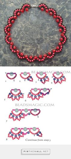 "Free pattern for beaded necklace Rosana | Beads Magic - Seed Bead Tutorials ""Best Seed Bead Jewelry 2017 Free pattern for beaded necklace Rosana"""