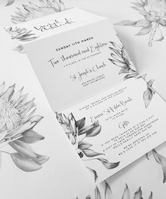 TRIFOLD PROTEAWedding Invitation is part of Protea wedding This invitation features my hand drawn king protea, on one side of this Trifold Wedding Invitation Perfect for the botanical lovers, who a - Floral Wedding Invitations, Wedding Stationary, Wedding Invitation Cards, Wedding Programs, Wedding Cards, Wedding Events, Wedding Day, Black And White Wedding Invitations, Wedding Suite