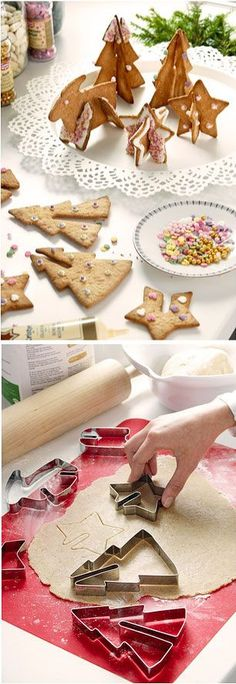 Cool cookie cutters that make standing cookies or slip over a mug of hot chocolate.