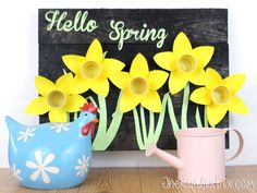 By using some spray paint and adding a cute welcome message, you can make this three-dimensional project come to life. See more at Hometalk » - GoodHousekeeping.com