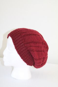 Knit Slouchy Beanie  Male or Female  Adult or by SnuggableStitches