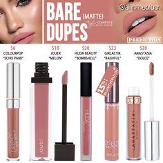 Kylie Cosmetics Bare Matte Liquid Lipstick Dupes [Vacation Edition] - All In The Blush Lipstick Dupes, Lipstick Colors, Liquid Lipstick, Lip Colors, Lipsticks, Maroon Lipstick, Kylie Lipstick, Nyx Lip, Bright Lipstick