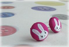 Bunny Button Earrings Easter White Rabbit on by Mythillogical