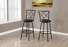 Monarch Specialties Barstool - 2Pcs / Metal/ Swivel Seat, Brown/Beige;White/Grey