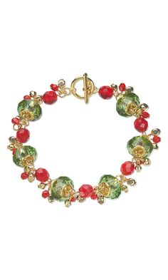 Jewelry Design - Bracelet with Dione® Glass and Gold-Plated Brass Beads and Czech Fire-Polished Glass Beads - Fire Mountain Gems and Beads