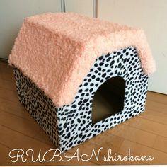 ネコの爪とぎハウス #カルトナージュ ネコ #爪とぎ #手作り #cartonnage #cat #house #handmade #かわいい