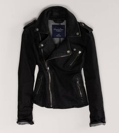 AE Denim Moto Jacket in leather
