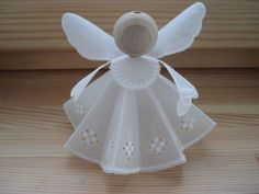 Angel Christmas Ornaments Pink and White Plaid Christmas Tree Angel, Christmas Love, Handmade Christmas, Christmas Crafts, Christmas Decorations, Diy Angels, Handmade Angels, Craft Stick Crafts, Diy And Crafts