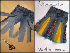 You'll love to make this Upcycled Denim Jeans Skirt and you can make it in a variety of styles and fabrics. Check out the Upside Down Upcycled Denim Jeans Dress too! Diy Clothing, Sewing Clothes, Sewing Jeans, Skirt Sewing, Clothes Refashion, Jeans Refashion, Sewing Shirts, Recycled Clothing, Recycled Fashion