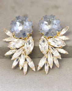 Statement Earrings,Swarovski Chandelier Earrings,Bridal Earrings,Estate Earrings,Big Earring,Light Blue earrings, Wedding Swarovski Earrings