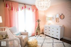 Coral, white and gold nursery baby room ideas детские