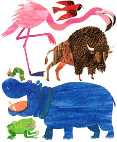 Eric Carle's illustrative technique is to use hand-painted, cut and collaged tissue paper
