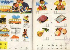 Šlabikár, ilustrácie Ferdinand Hložník,Czechoslovakian children's book illustrations
