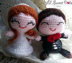 bride and groom crochet amigurumi doll toy